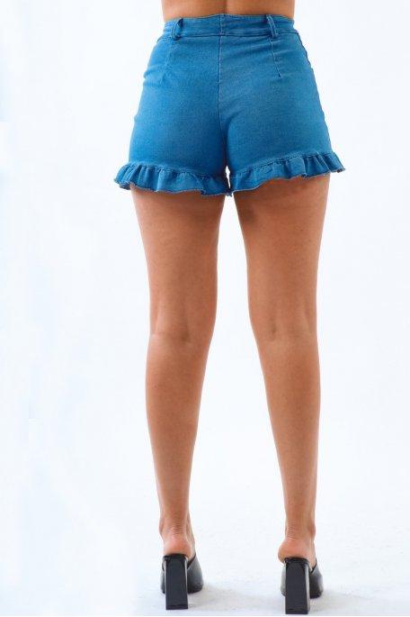 Short en jean bleu à volants