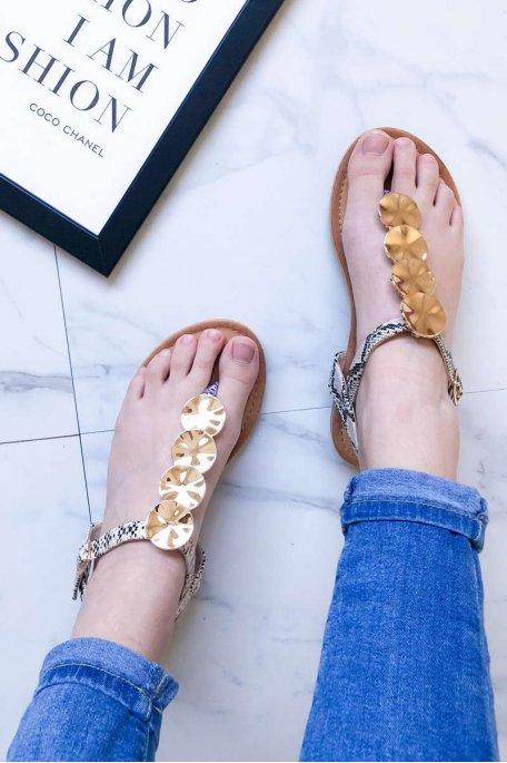 Sandales plates métal beige python
