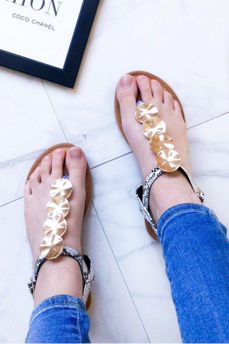 Sandales plates métal noir python