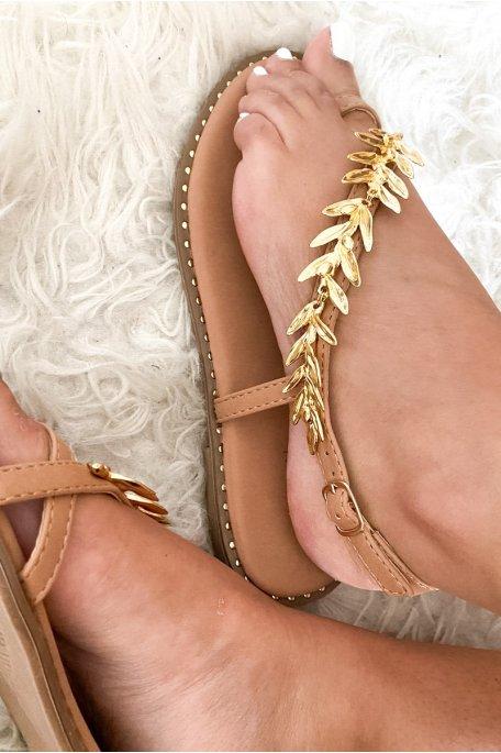 Sandales beiges bijou or