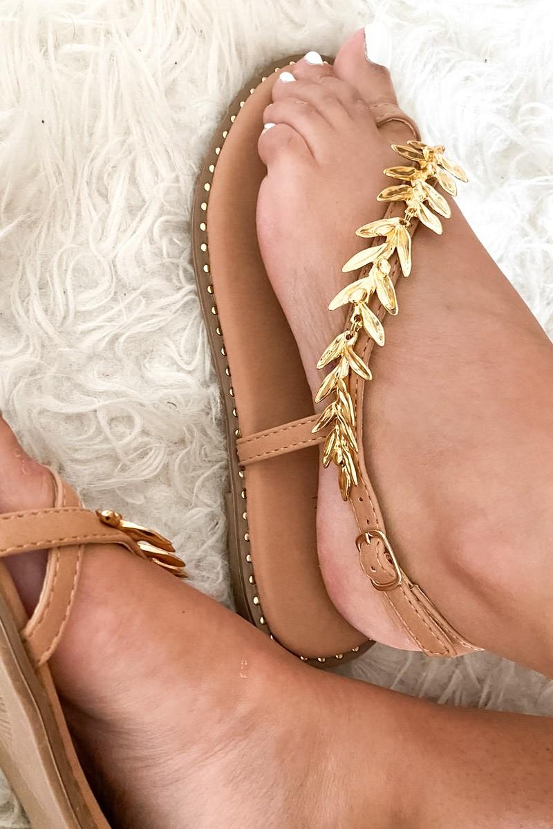 Sandales blanches simili cuir bijou or Cinelle Boutique
