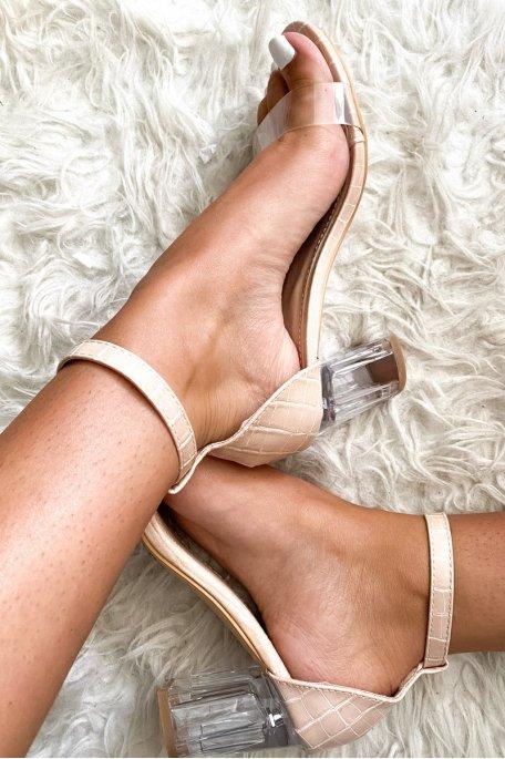 Sandales beiges à talons transparents effet croco