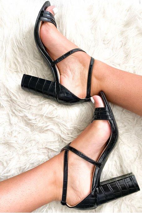 Sandale noire talon