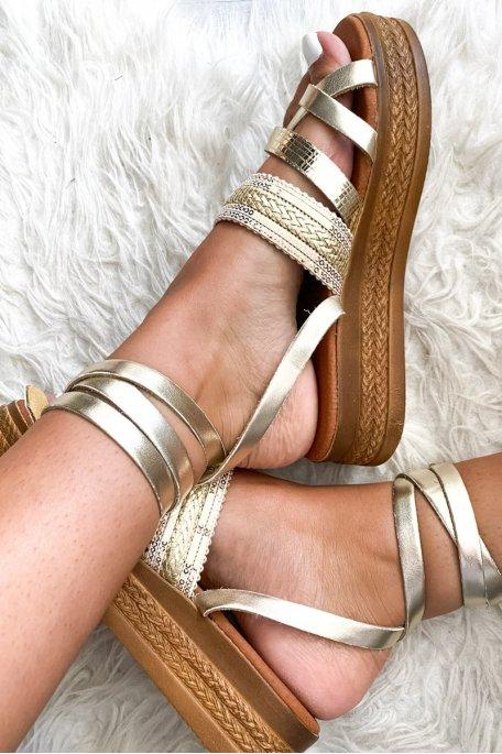 Sandales haute doré
