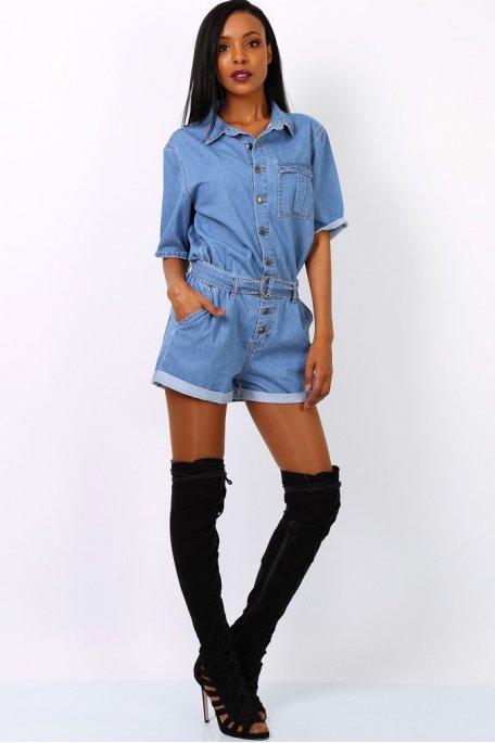 Combi-short jean