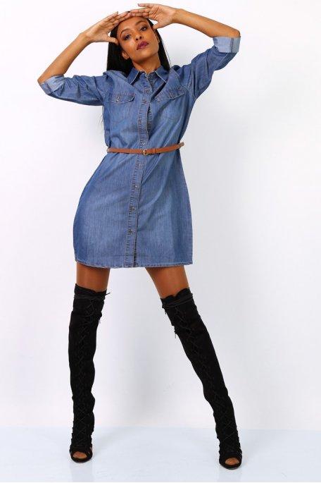Robe chemise effet jean