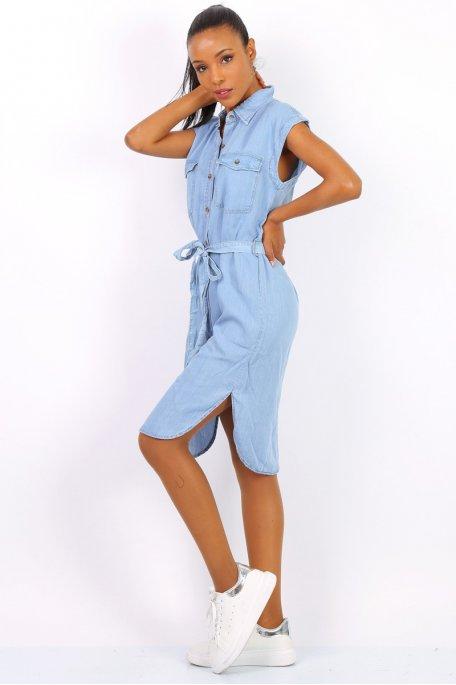 Robe jean sans manche