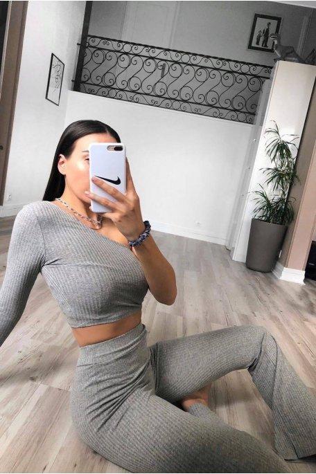 Ensemble côtelé gris crop top pantalon
