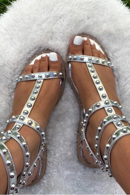 Sandales argentées montantes perles