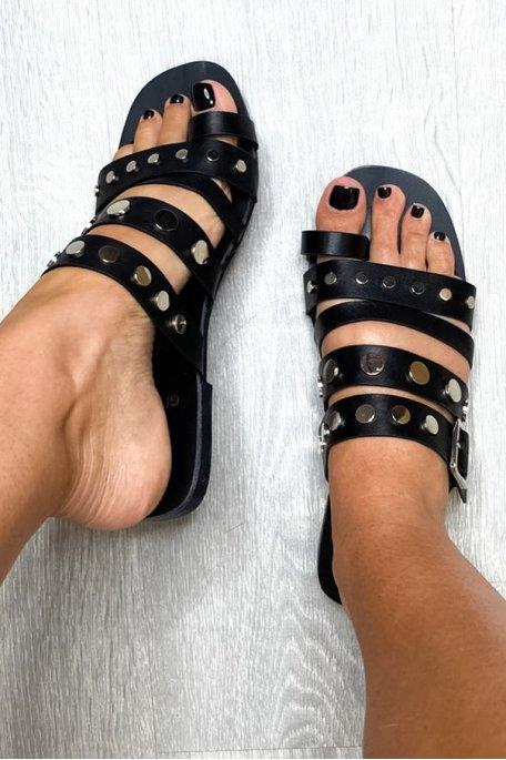 Sandales Bandes Cloutées Noir