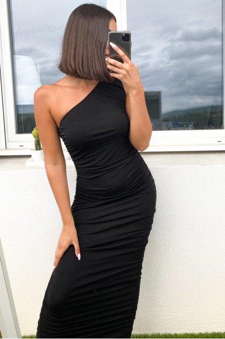 Robe longue noire froncée one shoulder