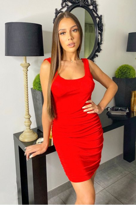 Robe bretelle froncée rouge