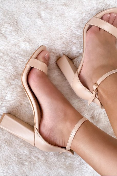 Sandales talon nude