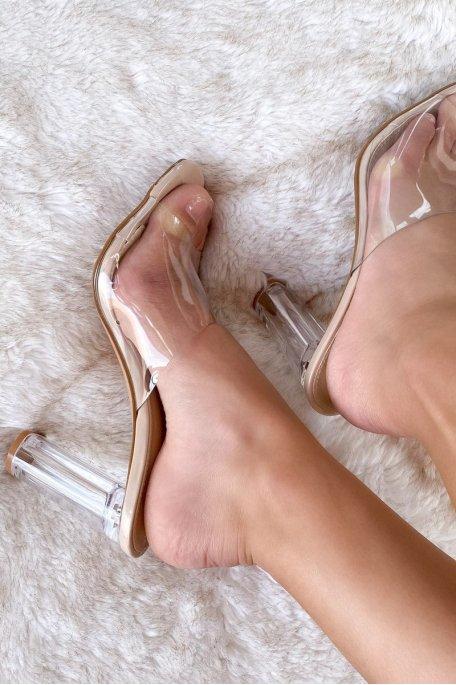 Sandale nude talon transparent