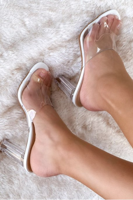 Sandale blanche talon transparent