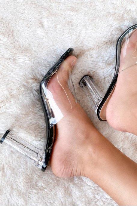Sandale noir talon transparent