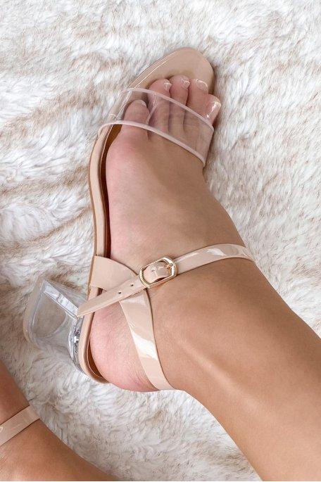 Sandale nude talon