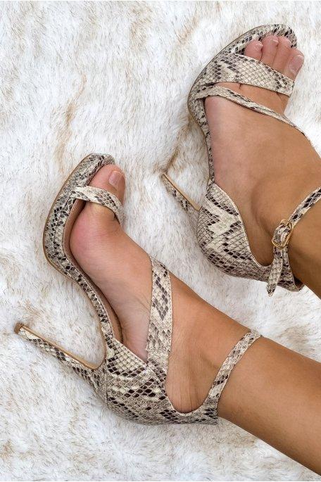 Sandales à talons python