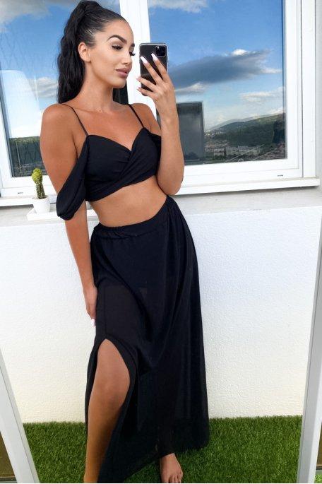 Ensemble noir short jupe voilée