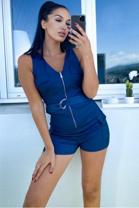 Combishort bleu foncé jean zippée
