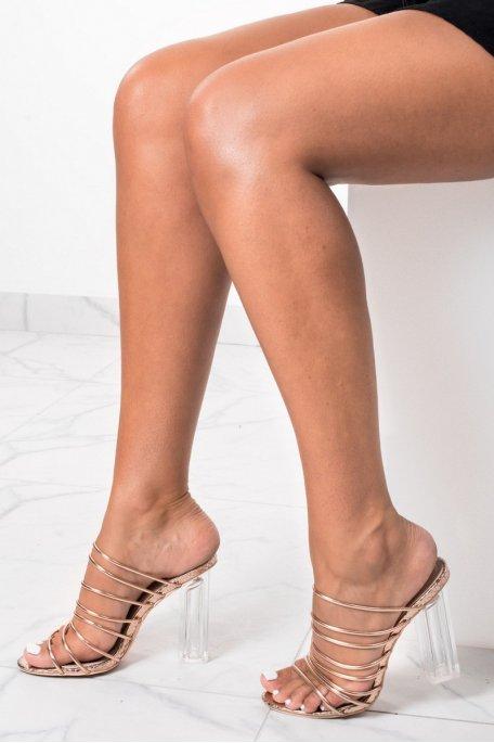 Sandales champagnes métallisées à talons