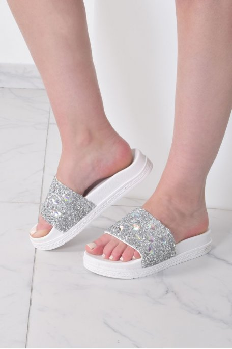 Claquettes strass plateforme blanches