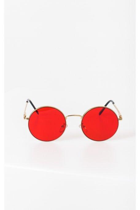 Lunettes de soleil rondes rouges