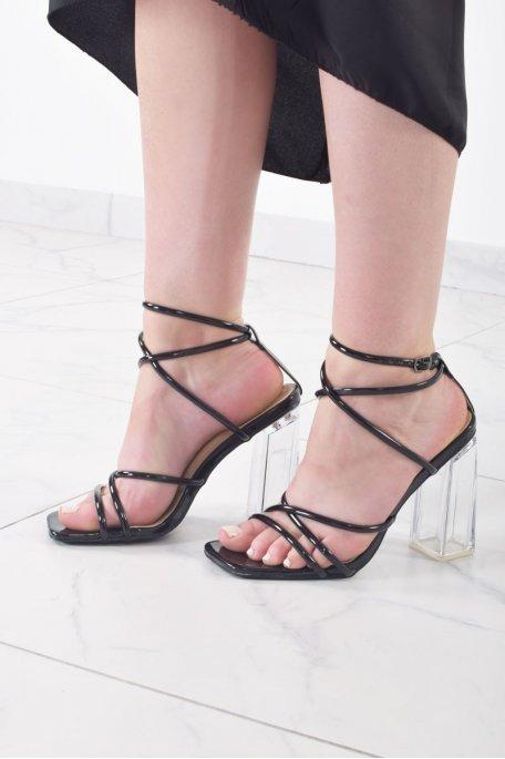 Sandales à talons transparents vernies noires