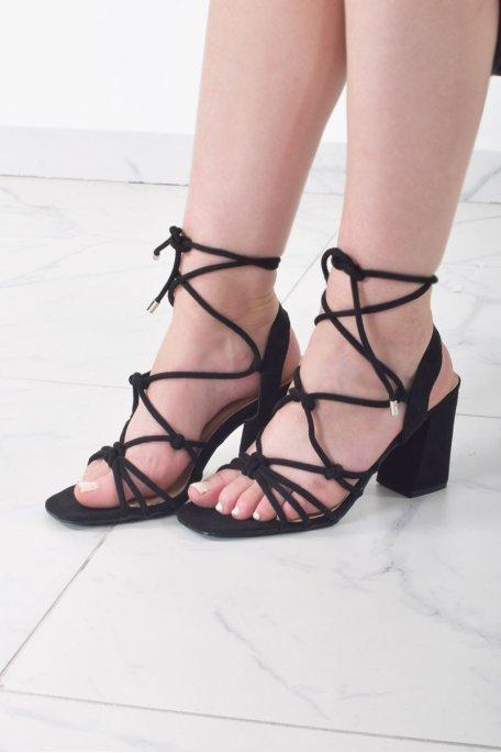 Sandales à talon nœud noires