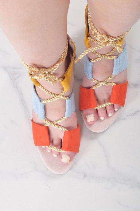 Sandales à talon corde colorées