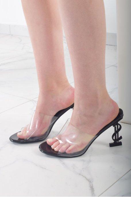 Sandales transparentes talons dollars noires