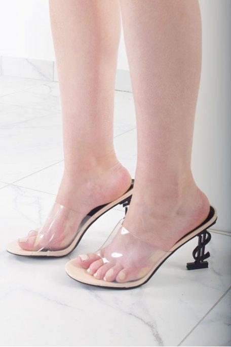 Sandales transparentes talons dollars nudes