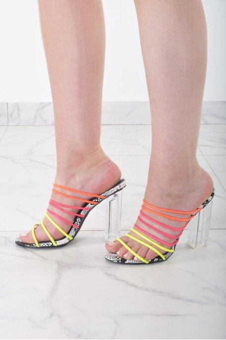Sandales fines brides à talons transparents multicolores