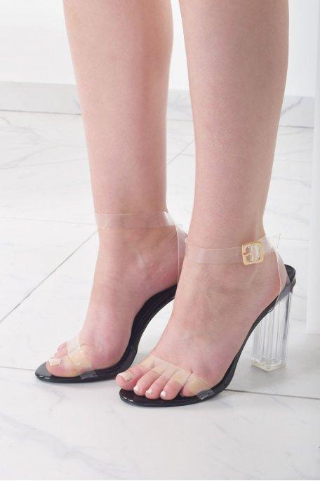 Sandales à talons transparents noires