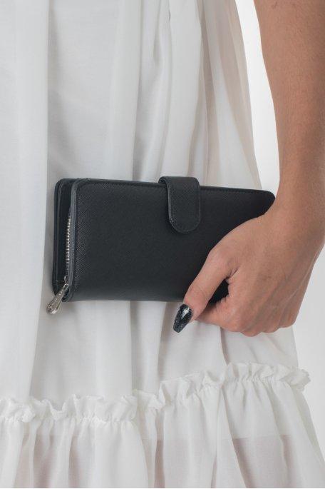 Portefeuille noir à rabat