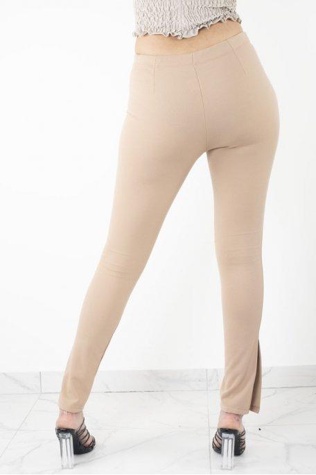 Pantalon camel slim fendu