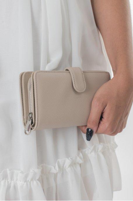 Portefeuille beige à rabat
