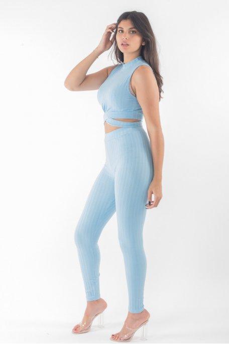 Ensemble bleu côtelé crop top croisé pantalon slim