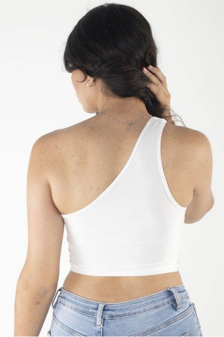 Crop top blanc épaule dénudé