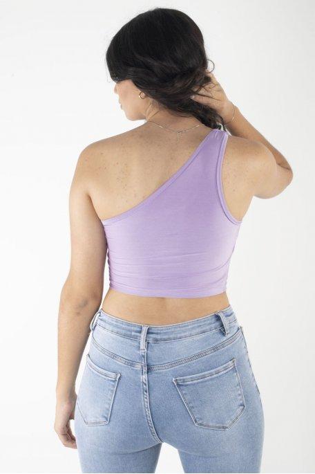 Crop top violet épaule dénudé