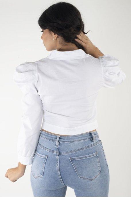 Veste courte blanche manches bouffantes