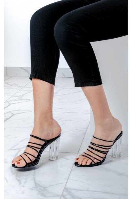 Sandales fines brides à talons transparents noires