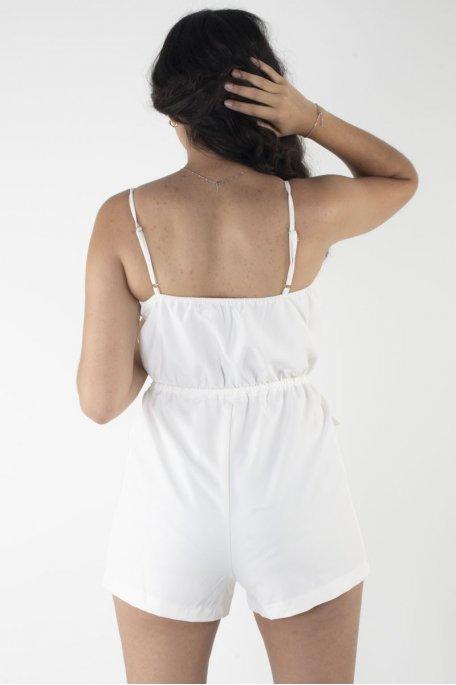 Combi-short bustier bouton blanc