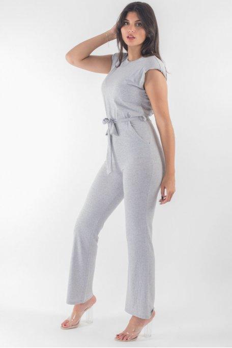 Combinaison grise épaulettes ceinturée