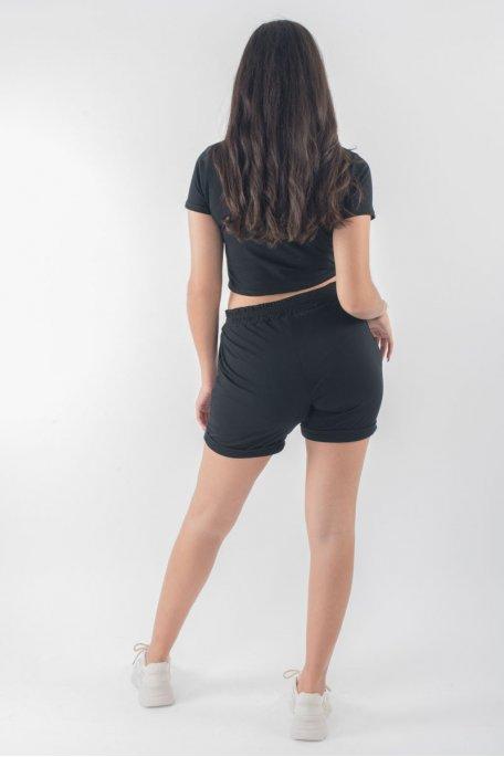 Ensemble crop top tee-shirt short noir