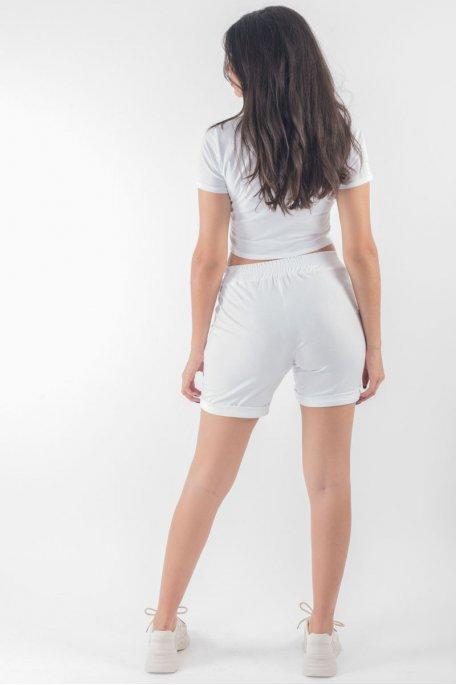 Ensemble crop top tee-shirt short blanc