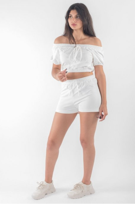 Ensemble crop top short blanc