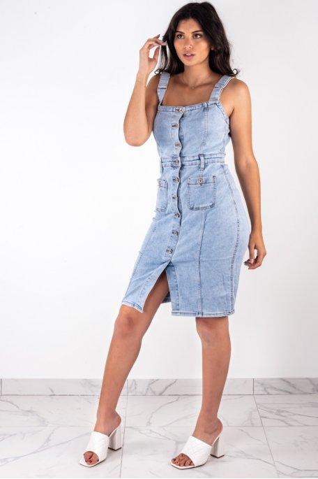 Robe en jean salopette bleue