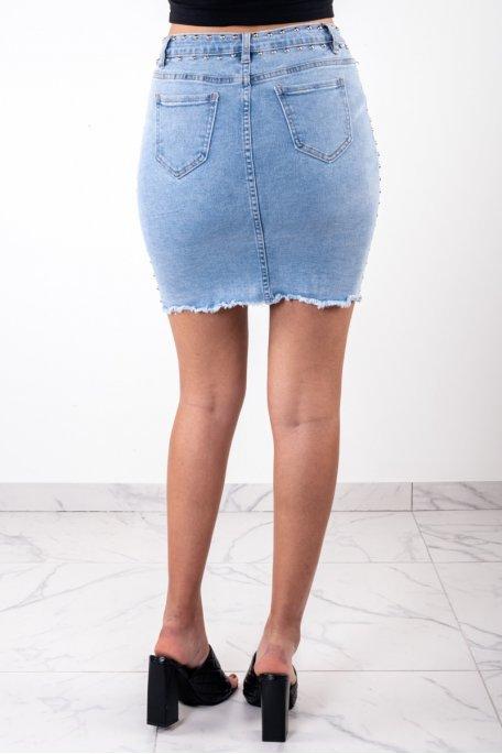 Jupe en jean cloutée