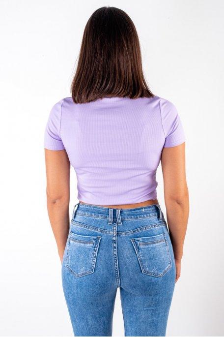 Crop top côtelé froncé violet